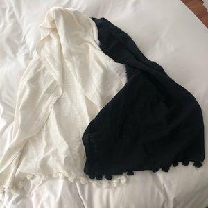 Jcrew black and white Pom Pom tie die shawl/ scarf